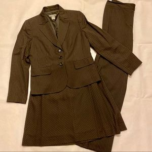 Ann Taylor Petites Brown Skirt Pants Blazer Suit